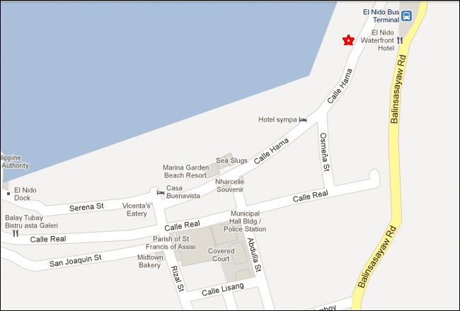 El Nido Beach Hotel Palawan Map