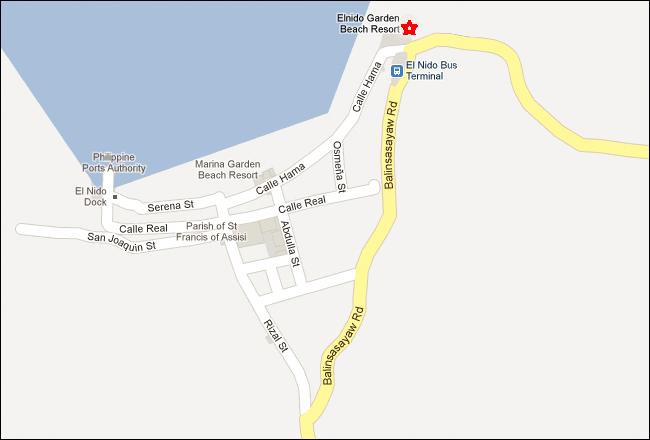 El Nido Garden Beach Resort Palawan Map