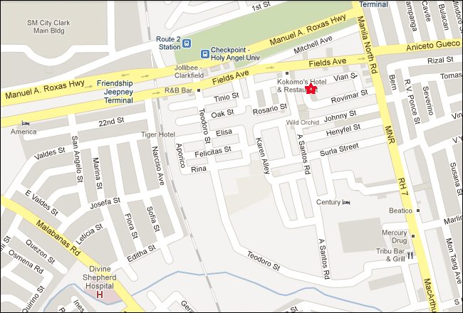 Pacific Breeze Hotel Angeles City Map